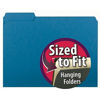 Smead® Interior File Folder, 1/3-Cut Tab, Letter Size, Sky Blue, 100/Box (10287)