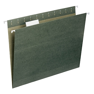 Smead® 100% Recycled Hanging File Folder with Tab, 1/5-Cut Adjustable Tab, Letter Size, Standard Green, 25/Box (65001)