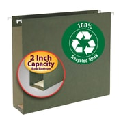 "Smead® 100% Recycled Hanging Box Bottom File Folder, 2"" Expansion, Letter Size, Standard Green, 25/Box (65090)"