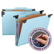 "Smead® Hanging Pressboard Classification File Folder w/ SafeSHIELD® Fastener,2"" Exp., 2/5 Tab, Letter, Blue, Each (65105)"