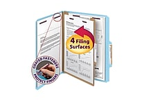 Smead® Pressboard Classification File Folder with SafeSHIELD® Fasteners, 1 Divider, 2' Exp., Letter, Blue, 10/Box (13730)