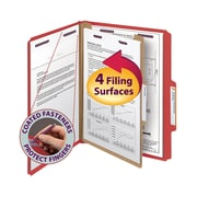 """Smead® Pressboard Classification File Folder with SafeSHIELD® Fasteners, 1 Divider, 2"""" Exp., Letter, Bright Red,10/Box (13731)"""