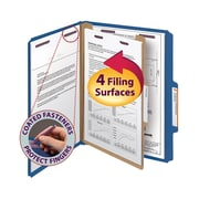 "Smead® Pressboard Classification File Folder with SafeSHIELD® Fasteners, 1 Divider, 2"" Exp., Letter, Dark Blue, 10/Box (13732)"
