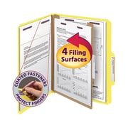 """Smead® Pressboard Classification Folder with SafeSHIELD® Fasteners, 1 Divider, 2"""" Exp., Letter, Yellow, 10/Box (13734)"""