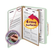 "Smead® Pressboard Classification File Folder with SafeSHIELD® Fasteners, 1 Divider, 2"" Exp., Letter, Gray/Green, 10/Box (13776)"