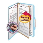 "Smead® Pressboard Classification File Folder with SafeSHIELD® Fasteners, 1 Divider, 2"" Exp., Legal, Blue, 10/Box (18730)"