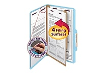 Smead® Pressboard Classification File Folder with SafeSHIELD® Fasteners, 1 Divider, 2' Exp., Legal, Blue, 10/Box (18730)