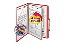 Smead® Pressboard Classification File Folder with SafeSHIELD® Fasteners, 1 Divider, 2' Exp., Legal, Bright Red, 10/Box (18731)