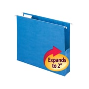 "Smead® Hanging File Pocket with Tab, 2"" Expansion, 1/5-Cut Adjustable Tab, Letter Size, Sky Blue, 25/Box (64250)"