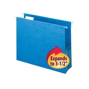 "Smead® Hanging File Pocket with Tab, 3"" Expansion, 1/5-Cut Adjustable Tab, Letter Size, Sky Blue, 25/Box (64270)"