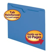 Smead® File Jacket, Reinforced Straight-Cut Tab, Flat-No Expansion, Letter Size, Blue, 100/Box (75502)