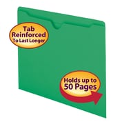 Smead® File Jacket, Reinforced Straight-Cut Tab, Flat-No Expansion, Letter Size, Green, 100/Box (75503)