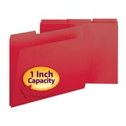 "Smead® Pressboard File Folder, 1/3-Cut Tab, 1"" Expansion, Letter Size, Bright Red, 25/Box (21538)"