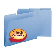 "Smead® Pressboard File Folder, 1/3-Cut Tab, 1"" Expansion, Letter Size, Blue, 25/Box (21530)"