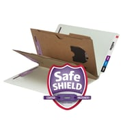 Smead® End Tab Classification File Folder with SafeSHIELD® Fasteners, 2 Pocket Divider, Legal, Gray/Green, 10/Box (29710)