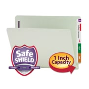 Smead® End Tab Pressboard Fastener File Folder with SafeSHIELD® Fastener, Letter, Gray/Green, 25/Box (34705)