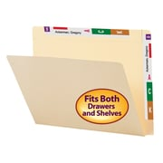 Smead® Conversion File Folder Top and End Tab, Letter Size, Manila, 100/Box (24190)