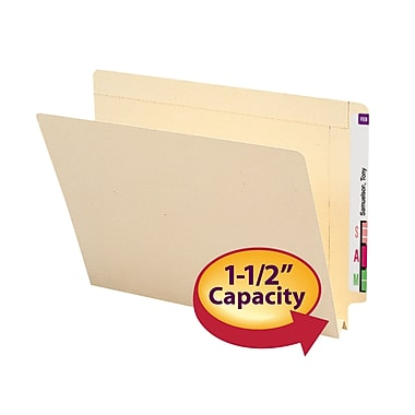 Smead® End Tab File Folder, Reinforced Straight-Cut Tab, 1-1/2