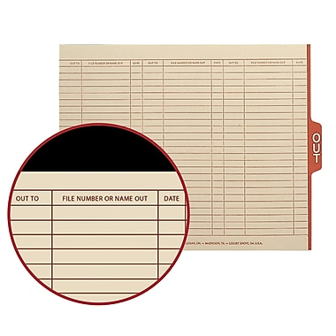 Smead® End Tab Out Guides with Printed Form, 1/5-Cut Tab Center Position, Letter Size, Manila, 100/Box (61910)