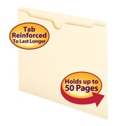 Smead® File Jacket, Reinforced Straight-Cut Tab, Flat-No Expansion, Letter Size, Manila, 100/Box (75500)