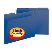 "Smead® Pressboard File Folder, 1/3-Cut Tab, 1"" Expansion, Letter Size, Dark Blue, 25/Box (21541)"