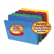 Smead® Poly File Folder with Slash Pocket, 1/3-Cut Tab, Letter Size, Assorted Colors, 30/Box (10540)