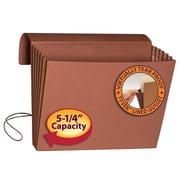 "Smead® Expanding Wallet, 5-1/4"" Expansion, Flap and Cord Closure, Extra Wide Letter Size, Redrope, Each (71186)"