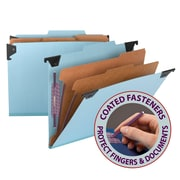 "Smead® Hanging Pressboard Classification File Folder w/ SafeSHIELD® Fastener, 2"" Exp., 2/5 Tab, Letter, Blue, Each (65115)"