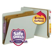 Smead® End Tab Pressboard Classification Folder with SafeSHIELD® Fasteners, Letter, Gray/Green 10/Box (26810)