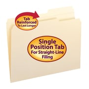 Smead® File Folders, Reinforced 2/5-Cut Right Position Tab, Guide Height, Letter Size, Manila, 100/Box (10386)