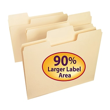 Smead® SuperTab® File Folder, Oversized 1/3-Cut Tab, Letter Size, Manila, 100/Box (10301)