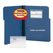 """Smead® Self-Adhesive Poly Pockets, Business Card Size (4-1/16""""W x 3""""H), Clear, 100/Box (68123)"""