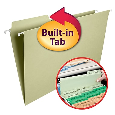 Smead® FasTab® Hanging File Folder, 1/3- Cut Built-In Tab, Legal Size, Moss, 20/Box (64083)