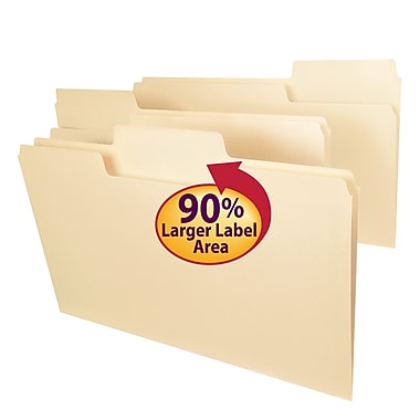 Smead® SuperTab® File Folder, Oversized 1/3-Cut Tab, Legal Size, Manila, 100/Box (15301)