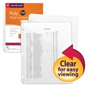 Smead® Poly Translucent Slash File Jacket, Three-Hole Punched, Letter Size, Clear, 5/Pack (89506)