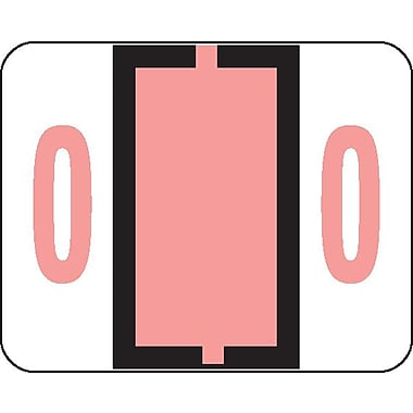 Smead® BCCRN Bar-Style Color-Coded Numeric Label, 0, Label Roll, Pink, 500 labels/Roll (67370)