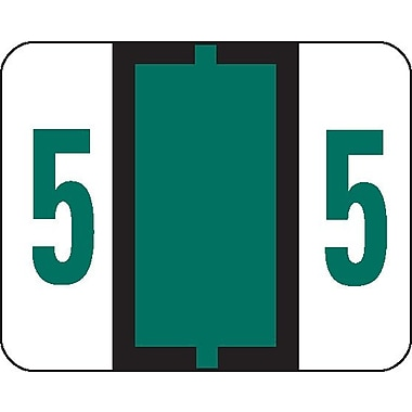 Smead® BCCRN Bar-Style Color-Coded Numeric Label, 5, Label Roll, Dark Green, 500 labels/Roll (67375)
