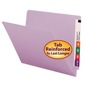 Smead® Colored End Tab File Folder, Shelf-Master® Reinforced Straight-Cut Tab, Letter Size, Lavender, 100/Box (25410)