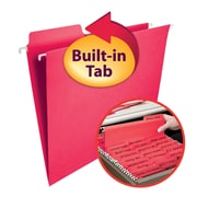 Smead® FasTab® Hanging File Folder, 1/3-Cut Built-In Tab, Letter Size, Red, 20/Box (64096)