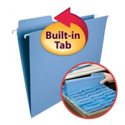 Smead® FasTab® Hanging File Folder, 1/3-Cut Built-In Tab, Letter Size, Blue, 20/Box (64099)