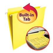 Smead® FasTab® Hanging File Folder, 1/3-Cut Built-In Tab, Letter Size, Yellow, 20/Box (64097)