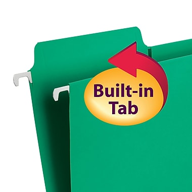 Smead® FasTab® Hanging File Folder, 1/3-Cut Built-In Tab, Letter Size, Assorted Colors, 18/Box (64053)