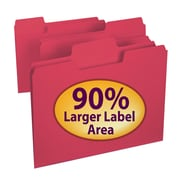Smead® SuperTab® File Folder, Oversized 1/3-Cut Tab, Letter Size, Red, 100/Box (11983)