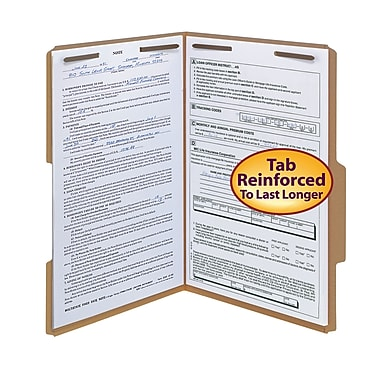 Smead® Fastener File Folder, 2 Fasteners, Reinforced 2/5-Cut Tab Right Of Center Position, Legal, Kraft, 50/Box (19880)