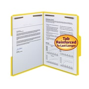 Smead® Fastener File Folder, 2 Fasteners, Reinforced 1/3-Cut Tab, Letter Size, Yellow, 50/Box (12940)