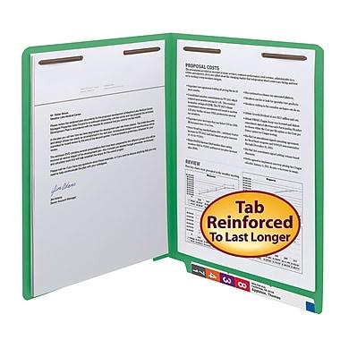 Smead® End Tab Fastener File Folder, Shelf-Master® Reinforced Straight-Cut Tab, 2 Fasteners, Letter, Green, 50/Box (25140)