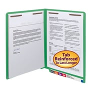Smead® End Tab Fastener File Folder, Shelf-Master® Reinforced Straight-Cut Tab, 2 Fasteners, Letter, Green, 50/Box (25140)