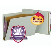 "Smead® End Tab Pressboard Classification File Folder w/SafeSHIELD® Fasteners, 2"" Expansion, Legal, Gray/Green, 10/Box (29800)"