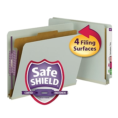 Smead® End Tab Pressboard Classification File Folder, SafeSHIELD® Fasteners, 2