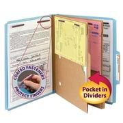 "Smead® Pressboard Classification Folder w/ Pocket Divider, SafeSHIELD® Fasteners, 2"" Exp., Letter, Blue, 10/Box (14081)"